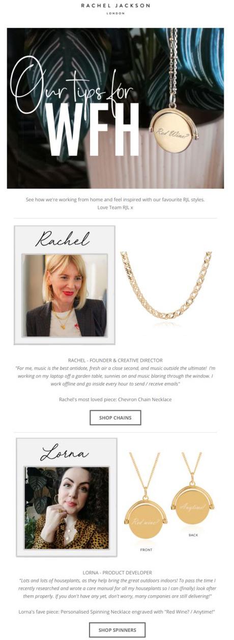 Racheljackson email newsletter example