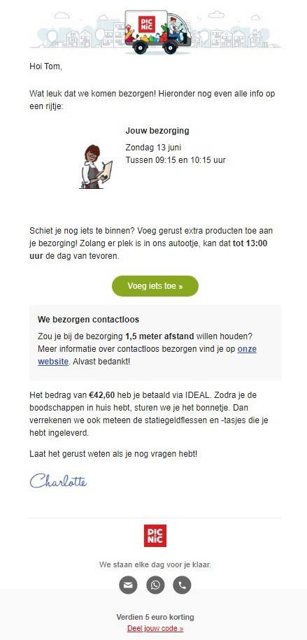 picnic your delivery email example