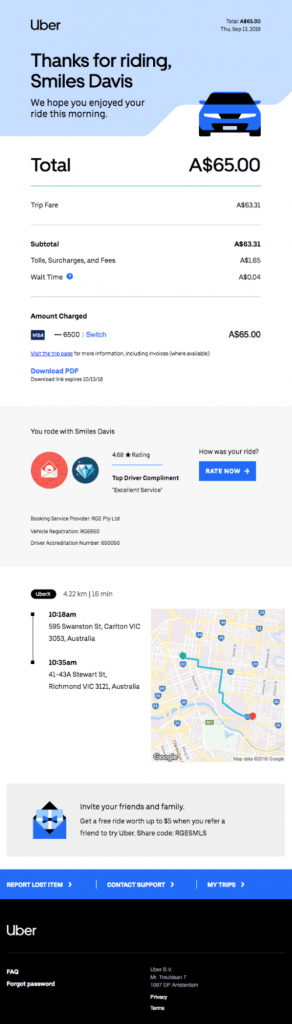 uber order email example