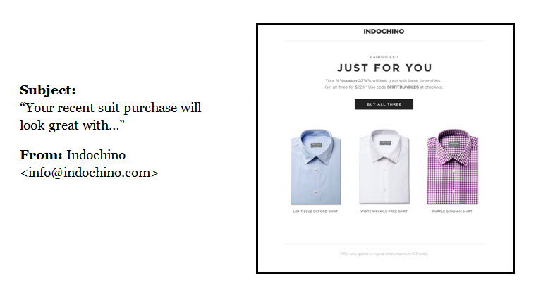 Indochino impulse buying triggered email example