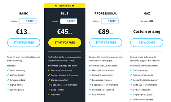 price plans grid screenshot