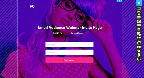 sample landing page built with getresponse