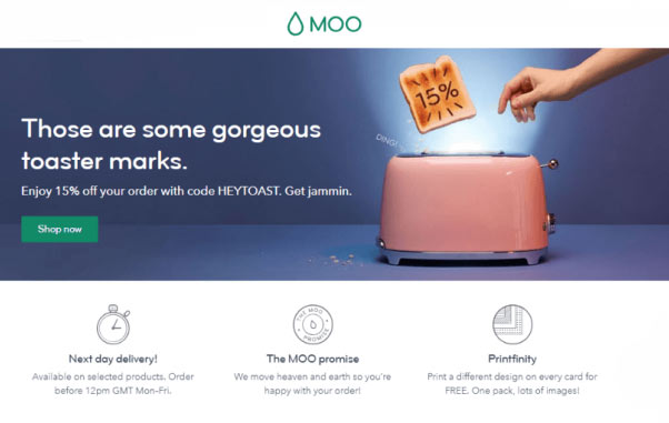 Moo innovative landingpage example