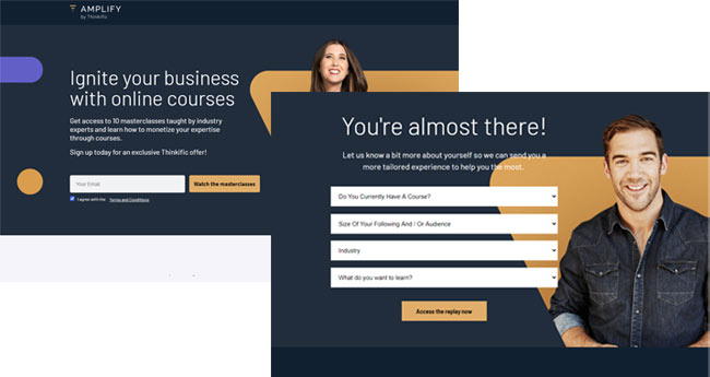 Thinkific online course landingpages example