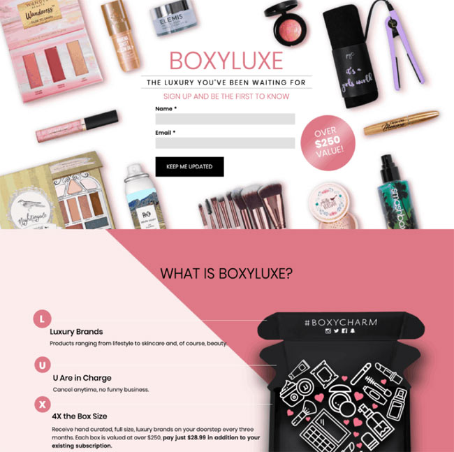 boxyluxe landing page examples