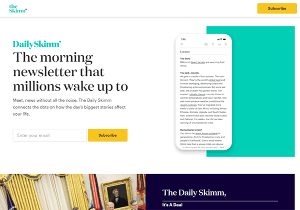 email newsletter sign up landing page