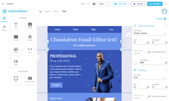 email drag and drop example templates
