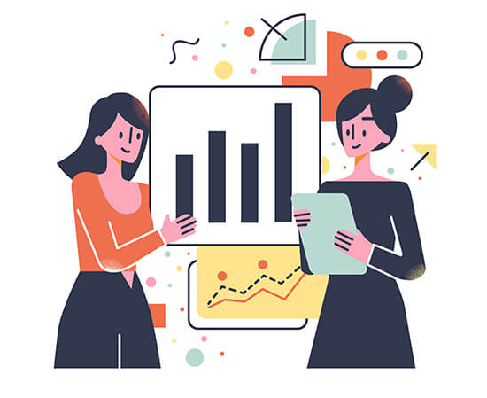 illustration with women looking at statistics