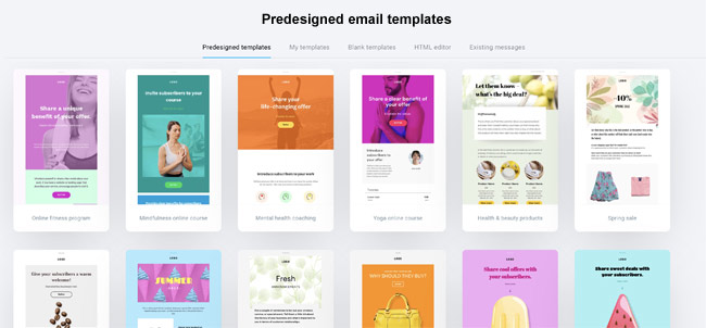 grid view of email templates