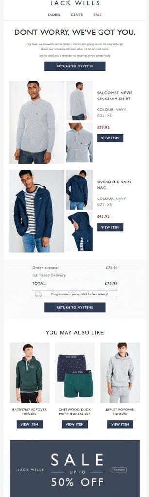 jack willis email campaign retail fashion