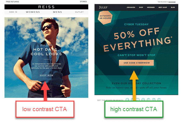 low contrast versus high contrast cta