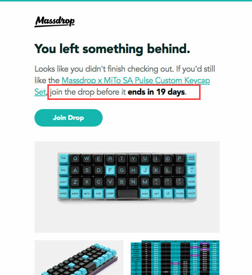 massdrop abandonned cart email social specificity join in