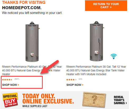 social proof abandonned cart email homedepot