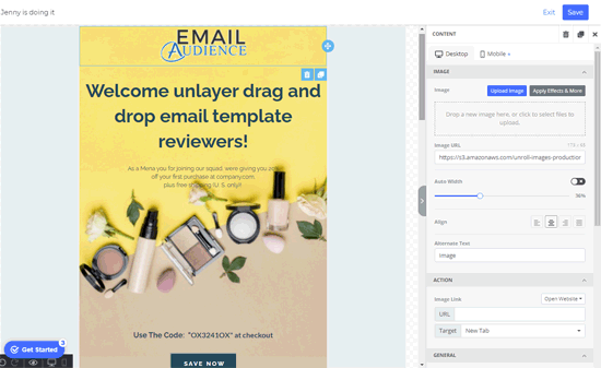 unlayer email template creator review
